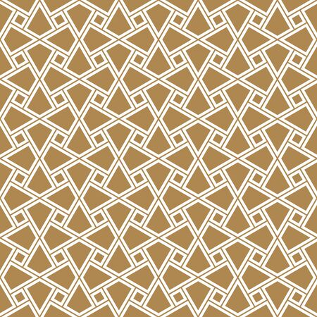 Seamless geometric ornament based on traditional arabic art. Muslim mosaic.Brown color background.Doubled lines. Vecteurs