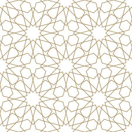Naadloos geometrisch ornament op basis van traditionele Arabische kunst. Moslim mozaïek. Bruine kleurlijnen. Geweldig ontwerp voor stof, textiel, omslag, inpakpapier, achtergrond. Gemiddelde dikte.