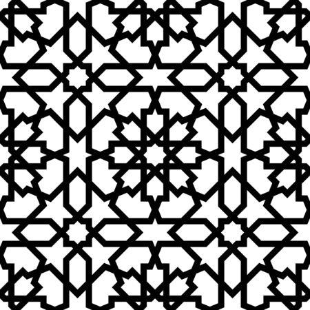 Ornamento geometrico arabo senza soluzione di continuità basato sull'arte araba tradizionale. Mosaico musulmano. Piastrelle turche e arabe su sfondo bianco.