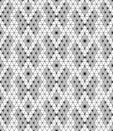 Seamless pattern based on japanese ornament Kumiko Black and white silhouette.Average thickness lines.Arrange in a checkerboard pattern.