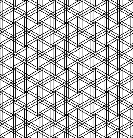 Seamless geometric pattern inspired by Japanese woodworking style Kumiko zaiku.Black and white silhouette with average thickness lines.Hexagonal grid.