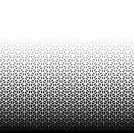 Patrón geométrico de figuras negras sobre un fondo blanco. Sin costuras en una dirección. Opción con un desvanecimiento PROMEDIO. Patrón clásico japonés en estilo kumiko. Ilustración de vector