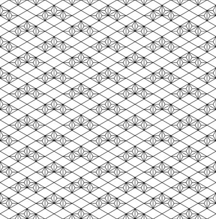 Japanese seamless geometric pattern.For design template,textile,fabric,wrapping paper,laser cutting and engraving.Average thickness lines.Diagonal grid. Foto de archivo - 136798054