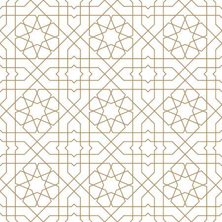 Ornement géométrique sans couture basé sur l'art arabe traditionnel. Lignes de couleur marron. Grand design pour tissu, textile, couverture, papier d'emballage, arrière-plan. Lignes d'épaisseur moyenne. Vecteurs