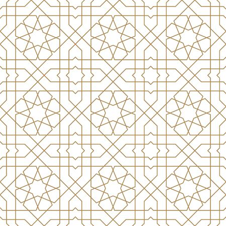 Seamless geometric ornament based on traditional arabic art.Brown color lines.Great design for fabric,textile,cover,wrapping paper,background.Average thickness lines. Vector Illustratie