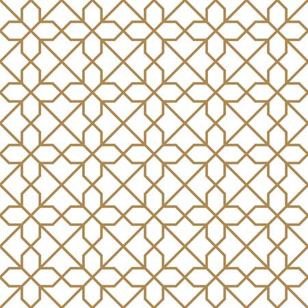 Seamless geometric ornament based on traditional arabic art.Brown color lines.Great design for fabric,textile,cover,wrapping paper,background.Average thickness lines. Illusztráció