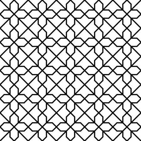 Seamless geometric ornament based on traditional arabic art. Muslim mosaic.Black and white lines.Great design for fabric,textile,cover,wrapping paper,background,laser cutting.Average thickness lines. Illusztráció