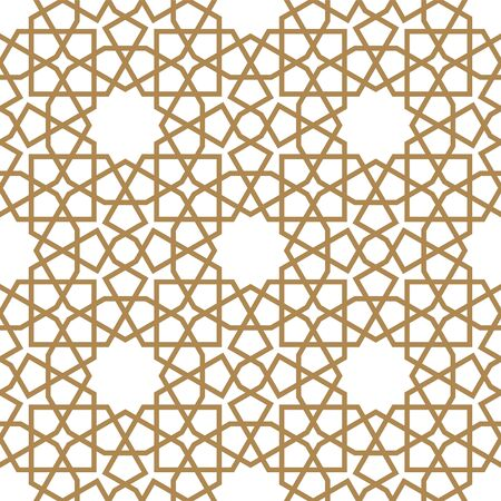 Seamless geometric ornament based on traditional arabic art.Brown color lines.Great design for fabric,textile,cover,wrapping paper,background.Thick lines. Illusztráció