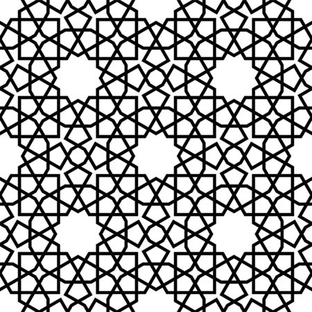 Seamless geometric ornament based on traditional arabic art. Muslim mosaic.Black and white lines.Great design for fabric,textile,cover,wrapping paper,background,laser cutting.Thick lines.