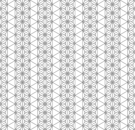 Seamless pattern based on Japanese ornament Kumiko.Black and white.Average and thin lines.