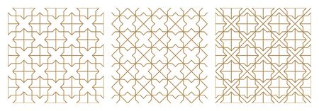 Seamless abstract geometric pattern based on traditional arabic art.Brown average lines.A set of three patterns. Vettoriali