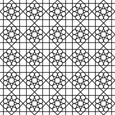 Seamless geometric ornament based on traditional arabic art. Muslim mosaic.Black and white lines.Great design for fabric,textile,cover,wrapping paper,background,laser cutting.Average thickness lines. Ilustrace