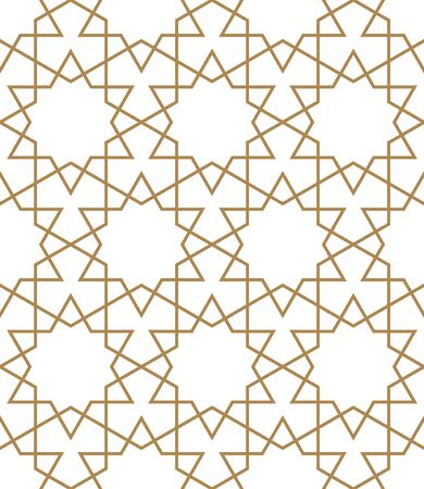 Seamless geometric ornament based on traditional arabic art.Brown color lines.Great design for fabric,textile,cover,wrapping paper,background.Average thickness lines. Ilustrace