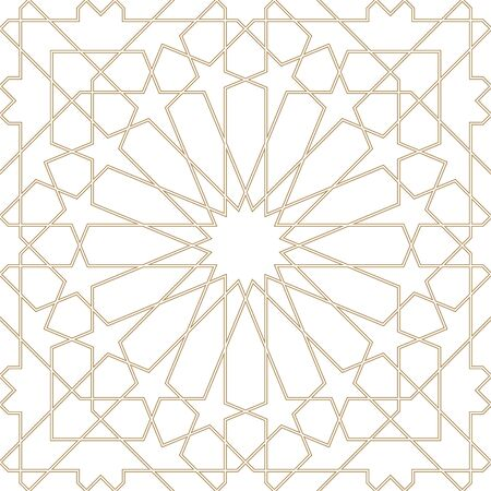 Seamless geometric ornament based on traditional arabic art.Brown color lines.Great design for fabric,textile,cover,wrapping paper,background.Average thickness.Contoured lines.