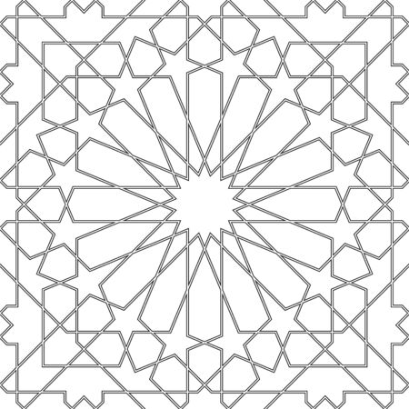Seamless geometric ornament based on traditional arabic art.Black lines and white background.Great design for fabric,textile,cover,wrapping paper,background.Average thickness.Contoured lines.