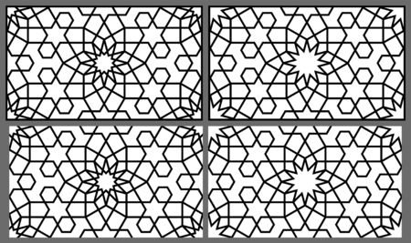Seamless geometric ornament based on traditional arabic art.Two versions of the ornament and the pattern in the frame and just a pattern for reproduction.Thick lines.