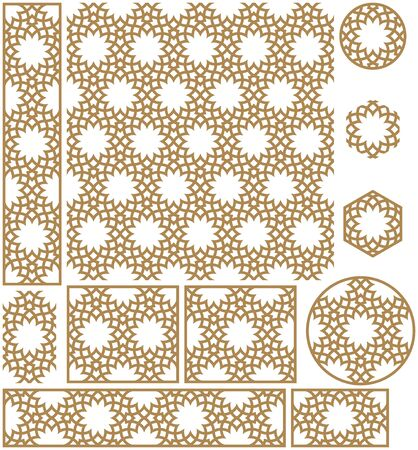 Seamless geometric ornament based on traditional arabic art.Frames and patterns.Thick lines.