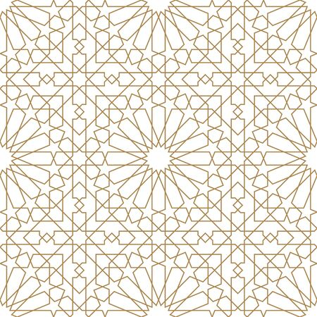 Seamless geometric ornament based on traditional arabic art.Brown color lines.Great design for fabric,textile,cover,wrapping paper,background.Average thickness.