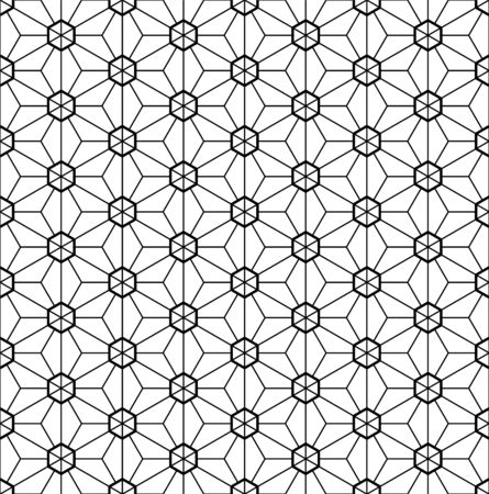 Seamless pattern.Based on Kumiko style.Black and white.Fine and average lines. Illustration