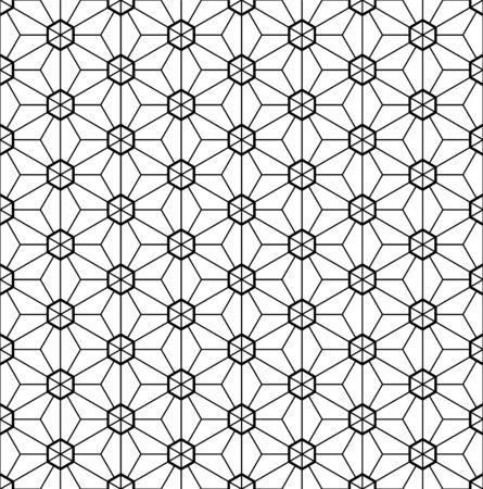 Seamless pattern.Based on Kumiko style.Black and white.Fine and average lines. Illustration