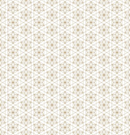 Japanese seamless geometric pattern .Gold silhouette lines.For design template,textile,fabric,wrapping paper,laser cutting and engraving.Fine lines. Vektorové ilustrace