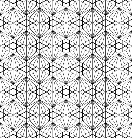 Seamless pattern based on japanese ornament Kumiko black and white silhouette.Average thickness lines.