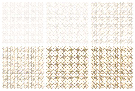 Seamless geometric ornament based on traditional arabic art.Brown color lines.Great design for fabric,textile,cover,wrapping paper,background.One pattern.Six types of thickness. Illustration