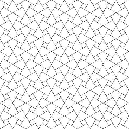 Seamless geometric ornament based on traditional arabic art. Muslim mosaic.Black and white lines.Great design for fabric,textile,cover,wrapping paper,background,laser cutting.Fine lines. Vectores
