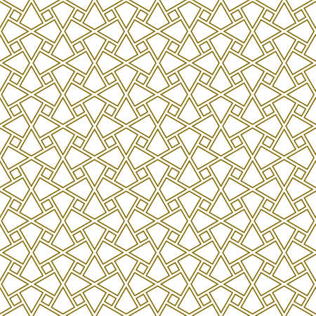Seamless geometric ornament based on traditional arabic art.Brown color lines.Great design for fabric, textile, cover, wrapping paper, background.Doubled lines. Illustration