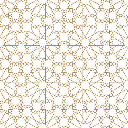 Seamless geometric ornament based on traditional arabic art.Brown color lines.Great design for fabric, textile, cover, wrapping paper, background.Thick lines. Stock fotó - 155401703