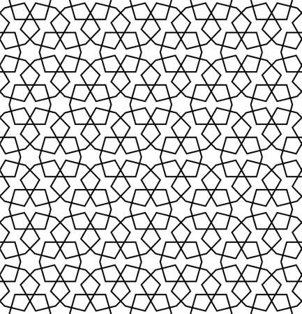 Seamless geometric ornament based on traditional arabic art.Black lines and white background.Great design for fabric, textile, cover, wrapping paper, background.Average thickness lines.