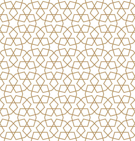 Seamless geometric ornament based on traditional arabic art.Brown color lines.Great design for fabric, textile, cover, wrapping paper, background.Average thickness lines.