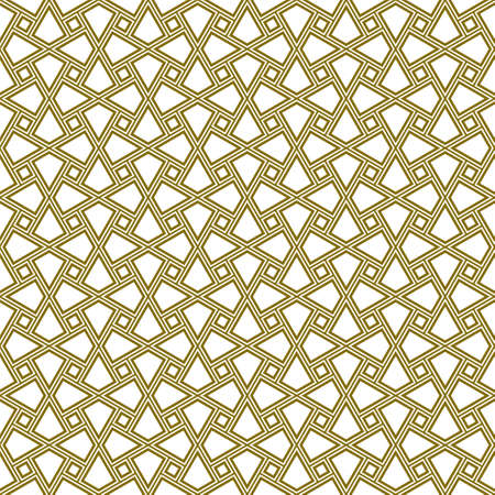 Seamless geometric ornament based on traditional arabic art. Muslim mosaic.Brown color lines.Great design for fabric, textile, cover, wrapping paper, background.Three contoured lines. Illusztráció