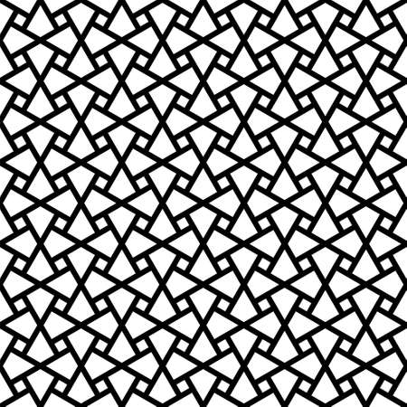 Seamless geometric ornament based on traditional arabic art. Muslim mosaic.Black and white lines.Great design for fabric, textile, cover, wrapping paper, background, laser cutting.Thick lines.