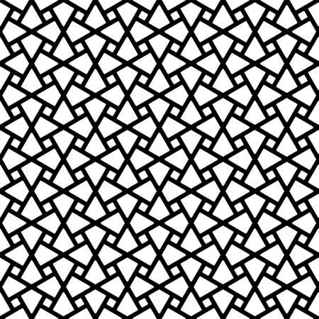 Seamless geometric ornament based on traditional arabic art. Muslim mosaic.Black and white lines.Great design for fabric, textile, cover, wrapping paper, background.Thick lines.Rounded corners.