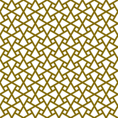 Seamless geometric ornament based on traditional arabic art.Brown color lines.Great design for fabric, textile, cover, wrapping paper, background.Thick lines. Stock fotó - 155401709