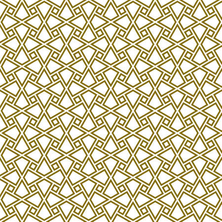 Seamless geometric ornament based on traditional arabic art.Brown color lines.Great design for fabric, textile, cover, wrapping paper, background.Average doubled lines.