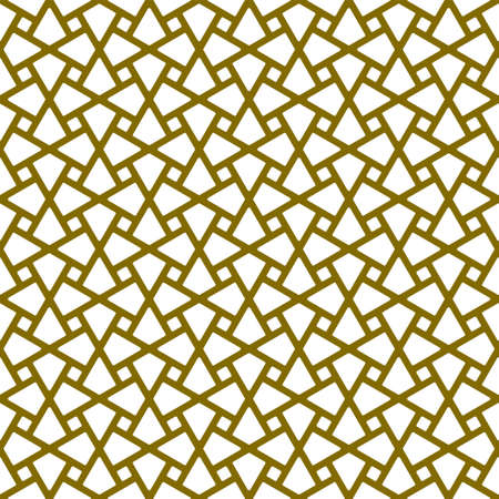 Seamless geometric ornament based on traditional arabic art.Brown color lines.Great design for fabric, textile, cover, wrapping paper, background.Thick lines.Rounded corners.