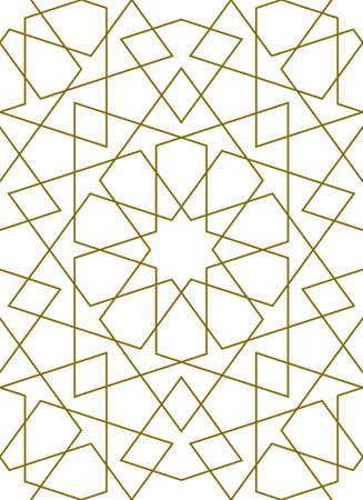 Seamless geometric ornament based on traditional islamic art.Brown color lines.Great design for fabric, textile, cover, wrapping paper, background.Thin lines. Illusztráció