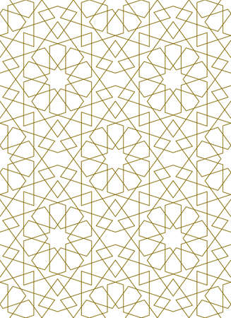 Seamless geometric ornament based on traditional islamic art.Brown color lines.Great design for fabric, textile, cover, wrapping paper, background.Thin lines. Stock fotó - 155401710
