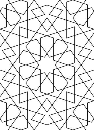 Seamless geometric ornament based on traditional islamic art. Muslim mosaic.Black and white lines.Great design for fabric, textile, cover, wrapping paper, background, laser cutting.Thin lines.