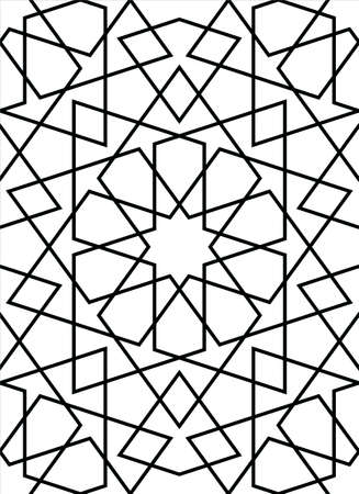 Seamless geometric ornament based on traditional islamic art. Muslim mosaic.Black and white lines.Great design for fabric, textile, cover, wrapping paper, background, laser cutting.Average thickness lines.
