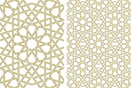 Seamless geometric ornament based on traditional islamic art.Brown color lines.Great design for fabric, textile, cover, wrapping paper, background.Average thickness contoured lines.
