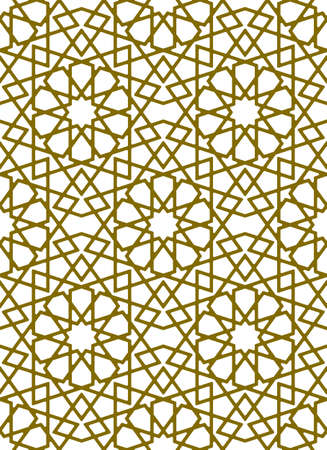 Seamless geometric ornament based on traditional islamic art.Brown color lines.Great design for fabric, textile, cover, wrapping paper, background.Thick lines.Rounded corners. Illusztráció