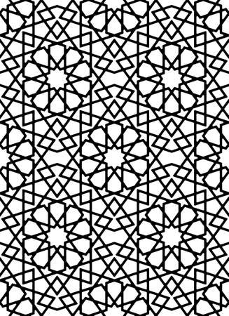 Seamless geometric ornament based on traditional islamic art.Black and white lines.Great design for fabric, textile, cover, wrapping paper, background, laser cutting.Thick lines.Rounded corners.
