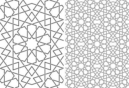 Seamless geometric ornament based on traditional islamic art.Set single pattern and 2x2 pattern.Wicker lines.Average thickness.