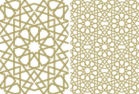 Seamless geometric ornament based on traditional islamic art.Brown color lines.Set single pattern and 2x2 pattern.Thick whicker lines. Vector Illustration