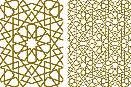 Seamless geometric ornament based on traditional islamic art.Brown color lines.Great design for fabric, textile, cover, wrapping paper, background.Thick lines.