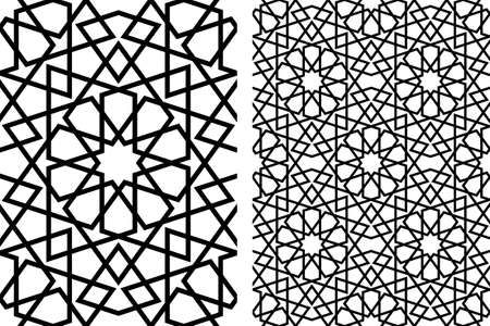 Seamless geometric ornament based on traditional islamic art.Black lines.Great design for fabric, textile, cover, wrapping paper, background, laser cutting.Thick lines.