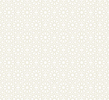 Seamless geometric ornament based on traditional islamic art.Brown color lines.Set single pattern and 6x4 pattern.Fine lines. Vector Illustration